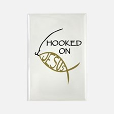 Hooked On Jesus Rectangle Magnet