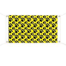 Dog Paws Yellow Banner