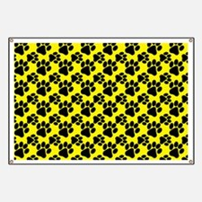 Dog Paws Yellow Banner