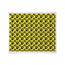 Dog Paws Yellow Throw Blanket