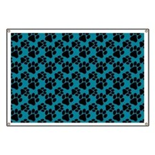 Dog Paws Teal Banner