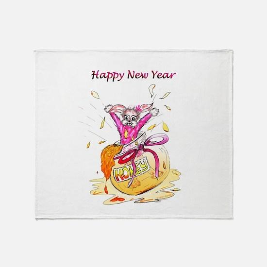 Honey Bunny New Year Throw Blanket