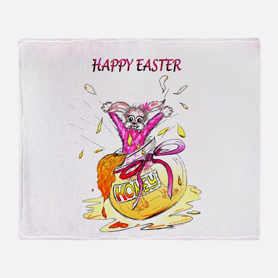 Honey Bunny Happy Easter Throw Blanket