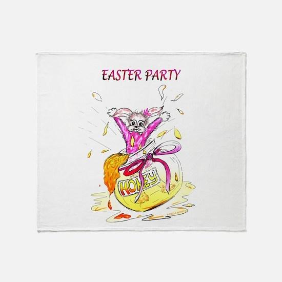 Honey Bunny Easter Party invitation Throw Blanket