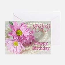100th Birthday card with daisies Greeting Cards (P
