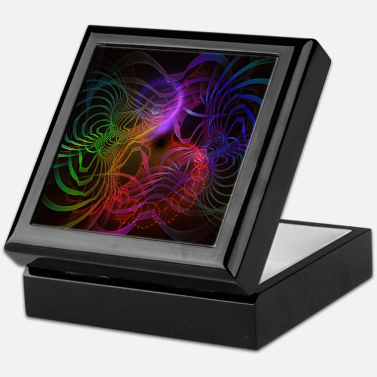 Rainbow Lines Fractal Design Keepsake Box
