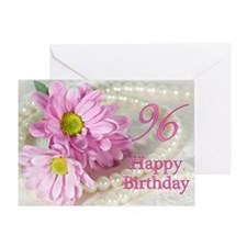 96th Birthday card with daisies Greeting Card
