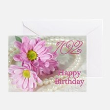 102nd Birthday card with daisies Greeting Cards (P