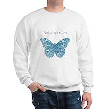 Faith, Hope, Love Aqua Butterfly Sweatshirt