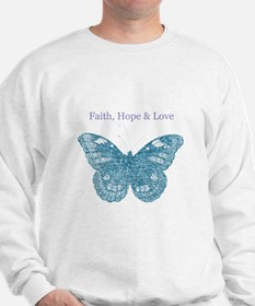 Faith, Hope, Love Aqua Butterfly Sweatshirt