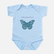Faith, Hope, Love Aqua Butterfly Body Suit