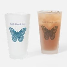 Faith, Hope, Love Aqua Butterfly Drinking Glass