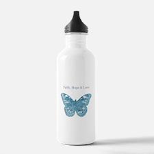 Faith, Hope, Love Aqua Butterfly Water Bottle