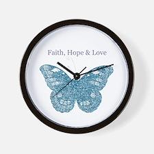 Faith, Hope, Love Aqua Butterfly Wall Clock