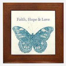 Faith, Hope, Love Aqua Butterfly Framed Tile