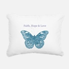 Faith, Hope, Love Aqua Butterfly Rectangular Canva