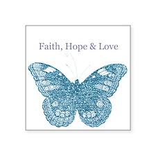 Faith, Hope, Love Aqua Butterfly Sticker