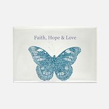 Faith, Hope, Love Aqua Butterfly Rectangle Magnet