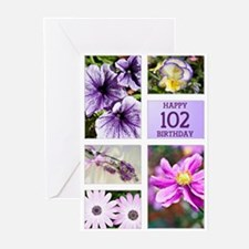 102nd birthday lavender hues Greeting Cards (Pk of