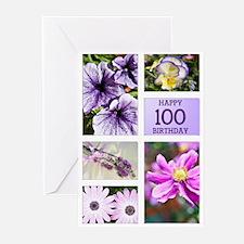 100th birthday lavender hues Greeting Cards (Pk of