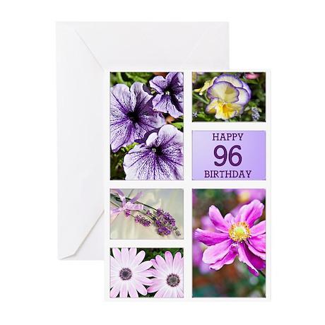 96th birthday lavender hues Greeting Cards (Pk of