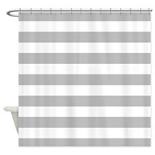 Gray and white Stripe Shower Curtain