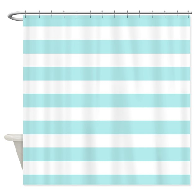 Mint blue and white stripe Shower Curtain by InspirationzStore