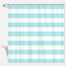 Mint blue and white stripe Shower Curtain