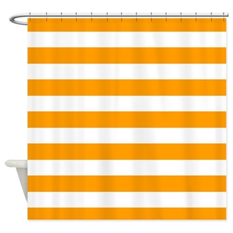 Orange And White Stripe Shower Curtain By InspirationzStore
