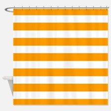 Orange and white stripe Shower Curtain