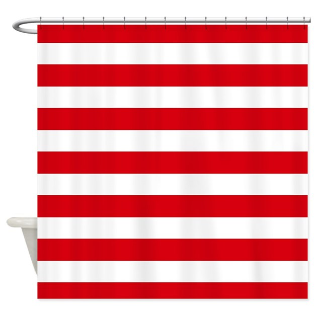 Red And White Stripes Shower Curtain By Inspirationzstore
