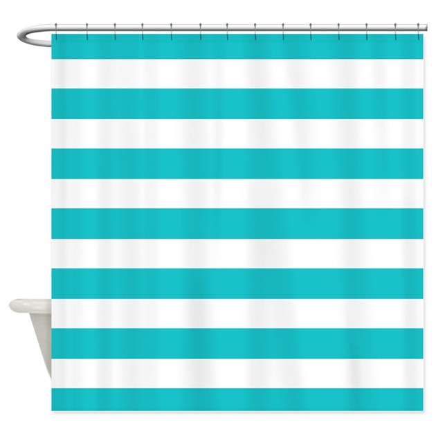 teal striped shower curtain.  Turquoise and white stripes Shower Curtain by InspirationzStore
