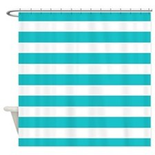 Turquoise and white stripes Shower Curtain