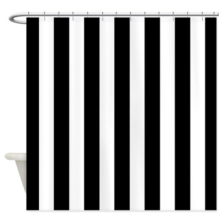 Black And White Vertical Stripes Shower Curtain By