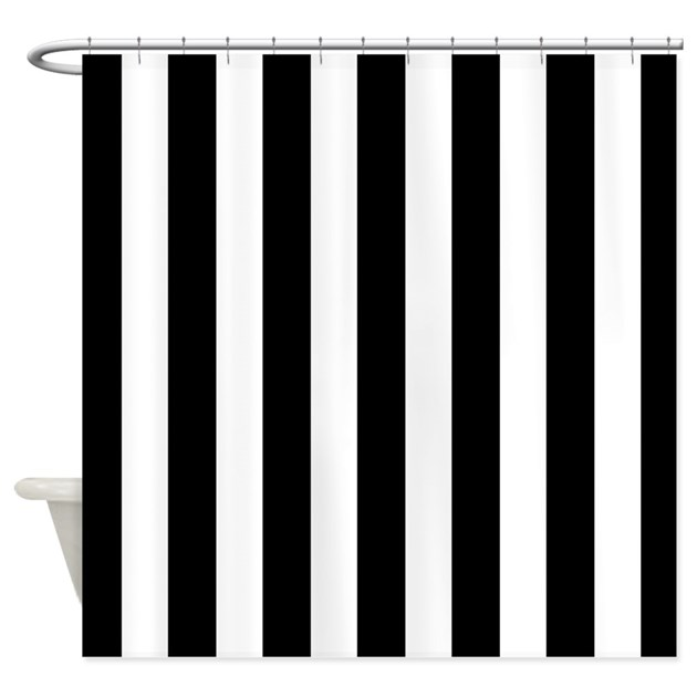 Black and white vertical stripes shower curtain by Black and white striped curtains