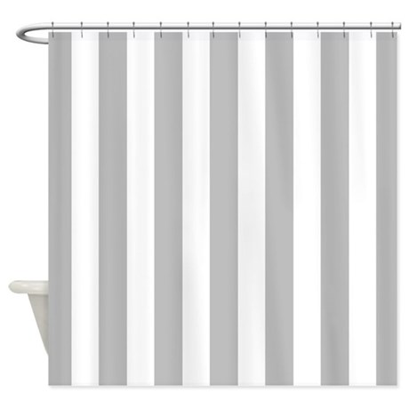 Gray And White Vertical Stripes Shower Curtain By