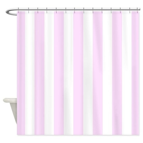 Pink And White Vertical Stripes Shower Curtain By Inspirationzstore