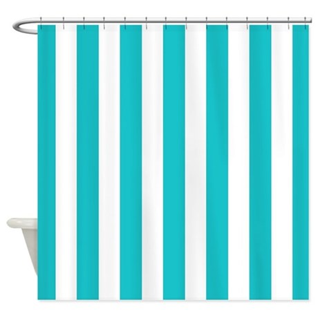 Teal Blue And White Stripes Shower Curtain By Inspirationzstore