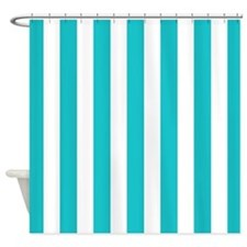 Teal blue and white stripes Shower Curtain
