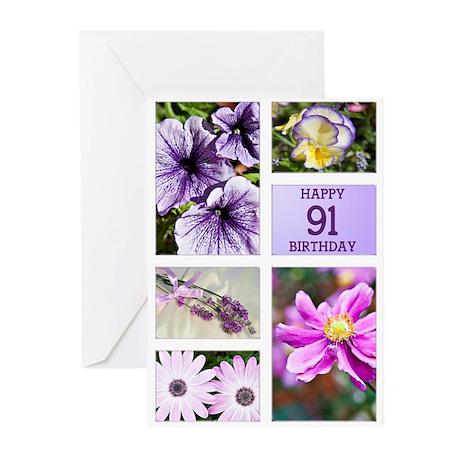 91st birthday lavender hues Greeting Cards (Pk of