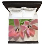 Pink Tulips In Bloom King Duvet