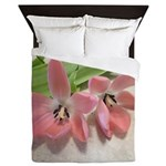 Pink Tulips In Bloom Queen Duvet