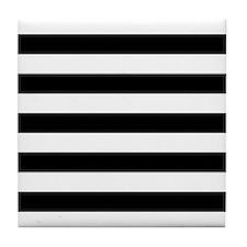 Black and white horizontal stripes Tile Coaster