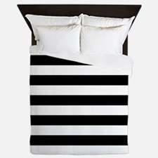 Black and white horizontal stripes Queen Duvet