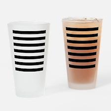 Black and white horizontal stripes Drinking Glass