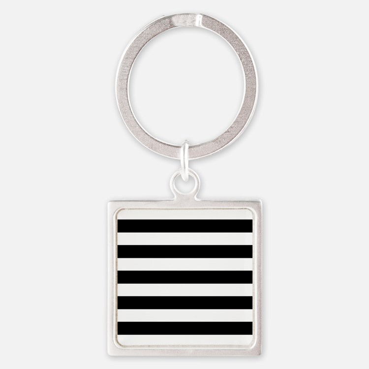 Black and white horizontal stripes Keychains