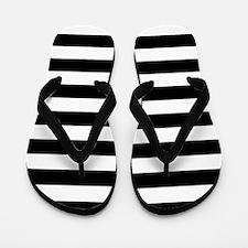 Black and white horizontal stripes Flip Flops