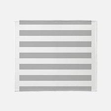 Gray and white horizontal stripes Throw Blanket
