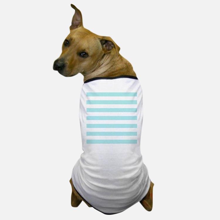 Mint Blue and white horizontal stripes Dog T-Shirt
