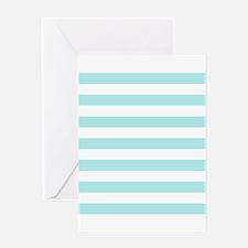 Mint Blue and white horizontal stripes Greeting Ca